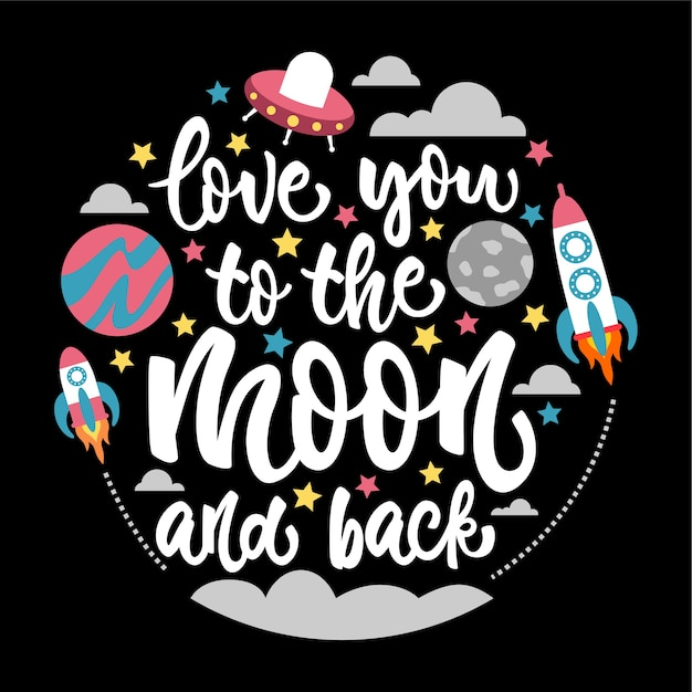 Download Love you to the moon and back lettering card   Premium Vector