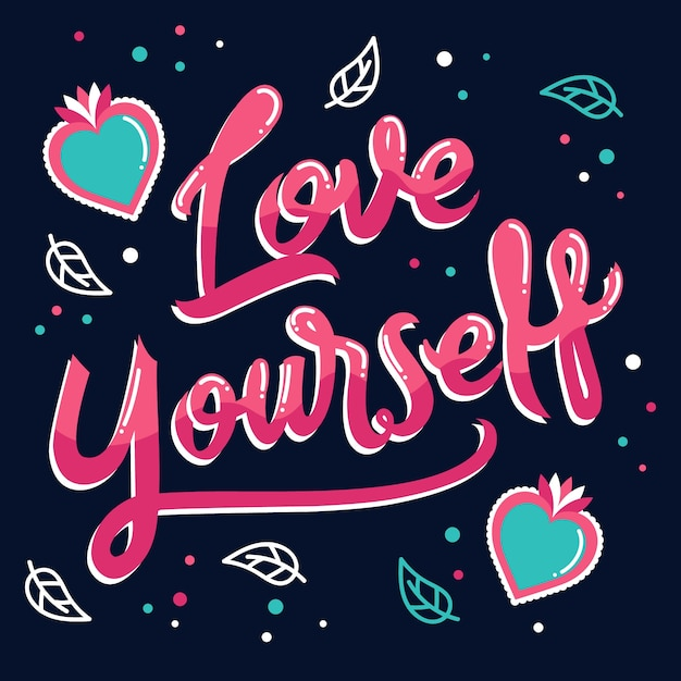Download Love yourself lettering with hearts and leaves   Free Vector