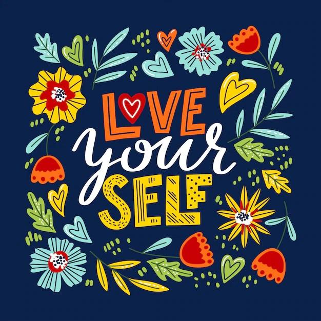 Download Love yourself lettering Vector   Premium Download