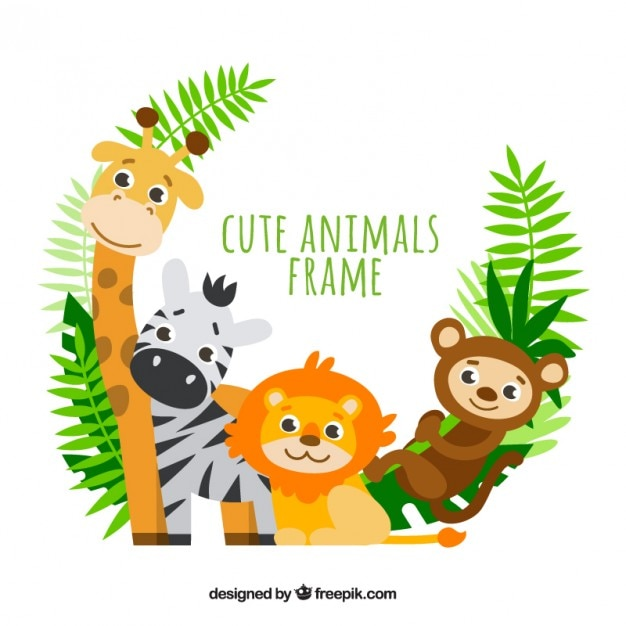 lovely animals with palm