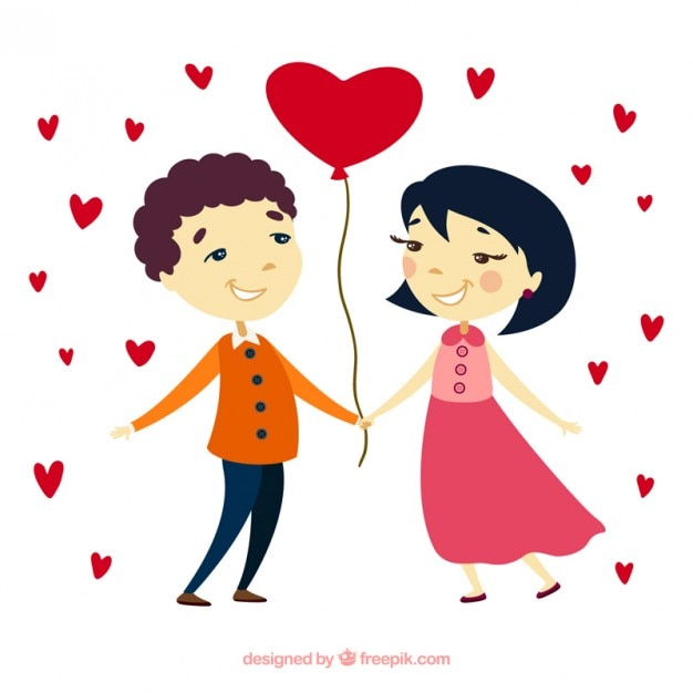 Download Lovely couple with a ballon heart shaped   Free Vector