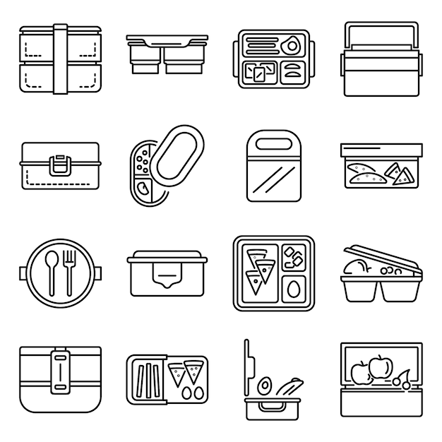 Lunchbox icon set. outline set of lunchbox vector icons