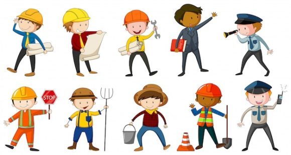 Man in different costume of occupations Free Vector
