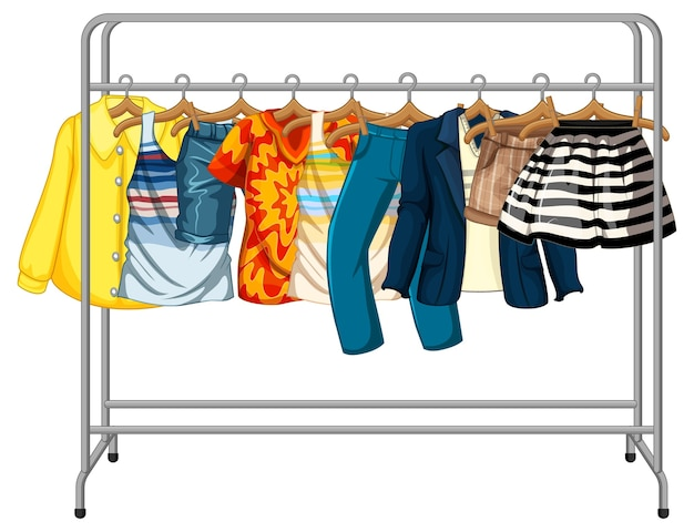 many clothes hanging on a clothes rack