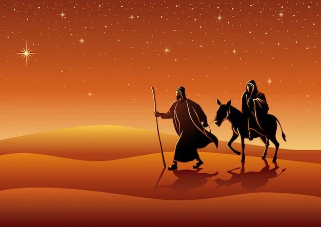 Premium Vector Mary And Joseph Journey To Bethlehem