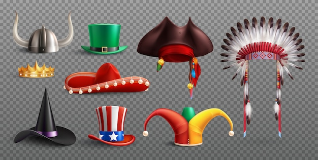Masquerade hats set on transparent  with traditional national and holiday elements isolated Free Vector