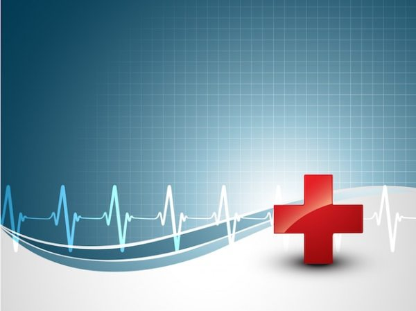 Medical background with heart beat and plus sign Vector