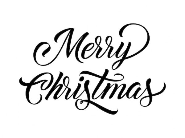 merry christmas calligraphy vector