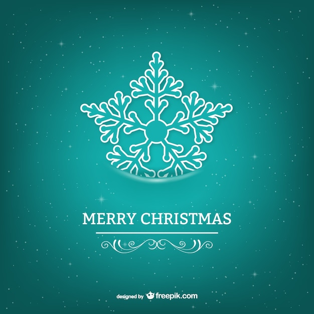 Merry Christmas Card With Turquoise Snowflake Vector