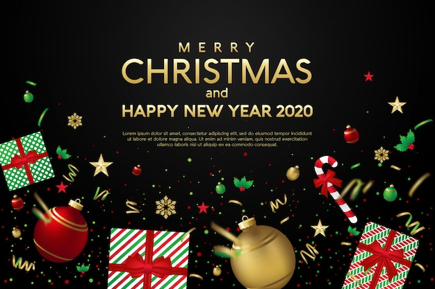 Merry christmas and happy new year 2020 greeting card template with christmas gifts Vector   Premium Download