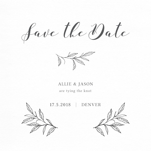 Minimalist save the date card with elegant branches and