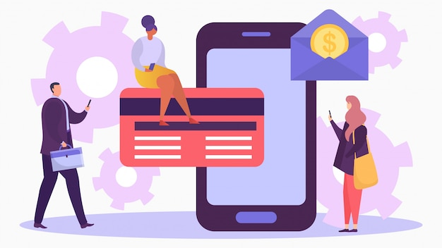 Premium Vector Mobile Banking With Card Illustration Internet Transaction Online Bank Payment Technology Concept With Smartphone