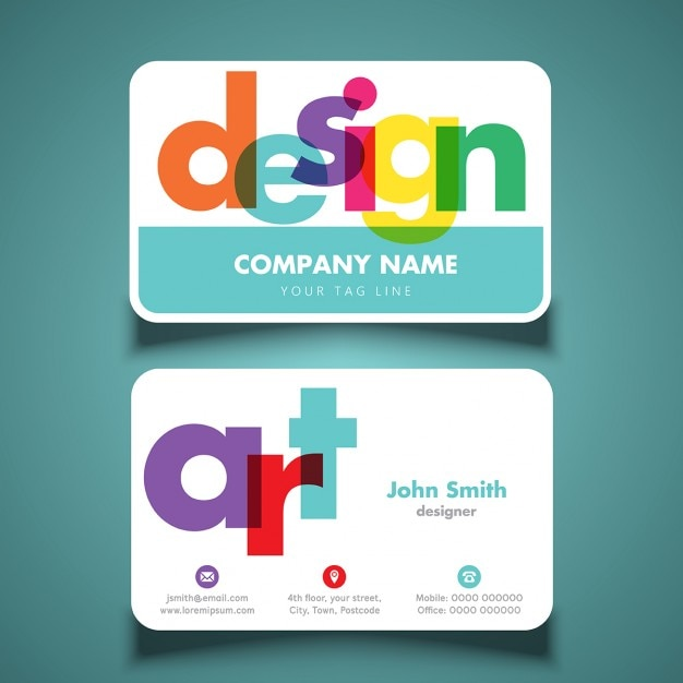Modern and Colorful Business Card Design With Colorful Text Transparency Free Vector