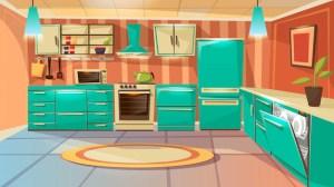 kitchen cartoon background furniture modern vector interior template dinner