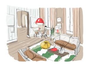 living drawing interior furnished salon lokal sketch colorful kleurrijke woonkamer salone interieur premium illustrazione bunte croquis innenraum hellem wohnzimmer moderner