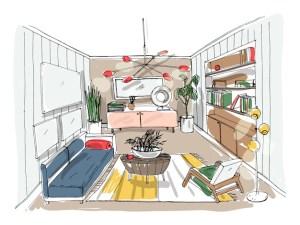sketch living modern drawing background vector interior furnished illustration premium colorful
