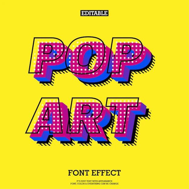 Modern Pop Art Font Effect Vector Premium Download