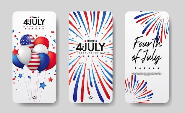 Modern social media stories set of american independence day, 4th july of usa. Premium Vector
