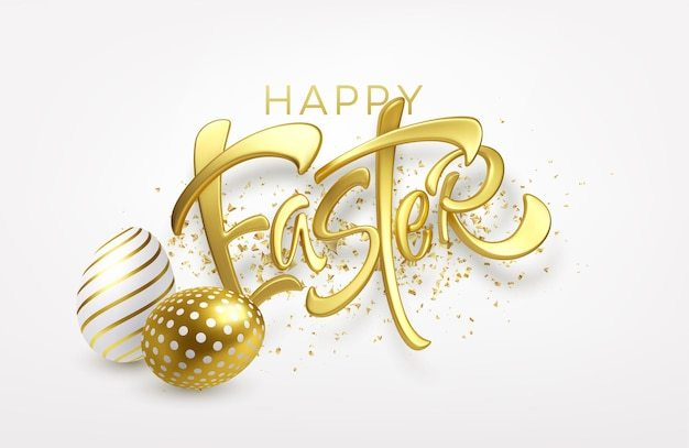 Modern trendy golden metallic shiny typography happy easter on a background of easter eggs Free Vector
