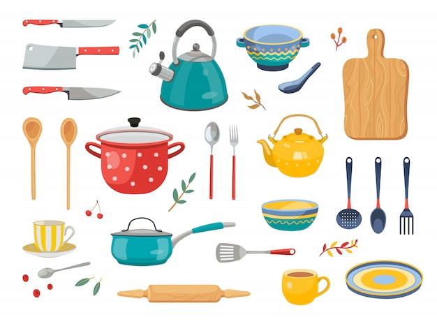 Having the right kitchen utensils for the different jobs makes life a lot easier. Free Vector Modern Various Kitchen Tools Flat Icon Set
