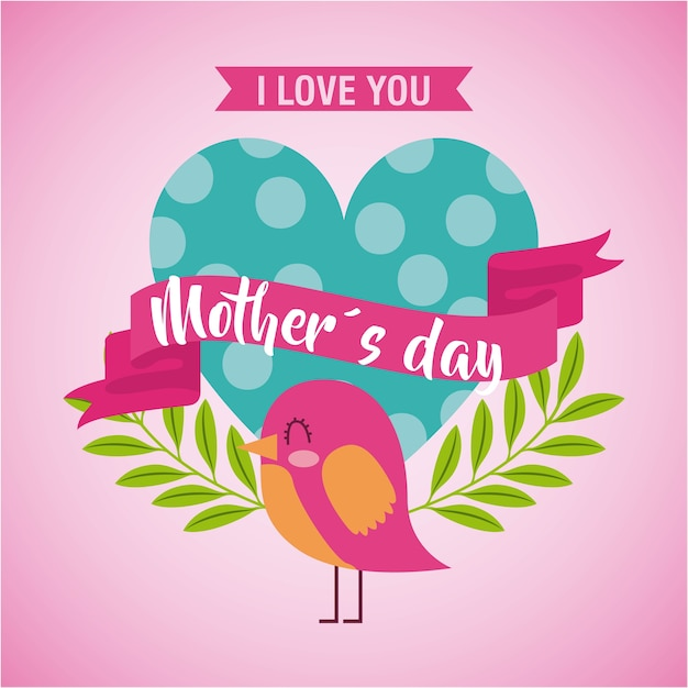 Download Mothers day love you card Vector | Premium Download