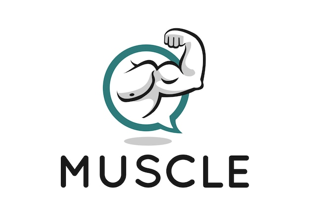 Muscle logo design for fitness forum or blog Vector