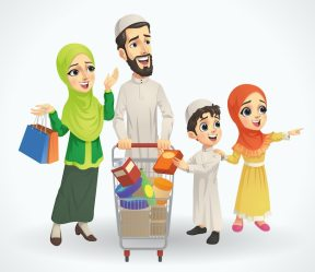 Premium Vector Muslim family shopping with trolley