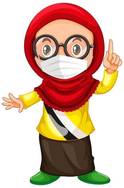 Logo Memakai Masker Png : memakai, masker, Vector, Muslim, Glasses, Wearing