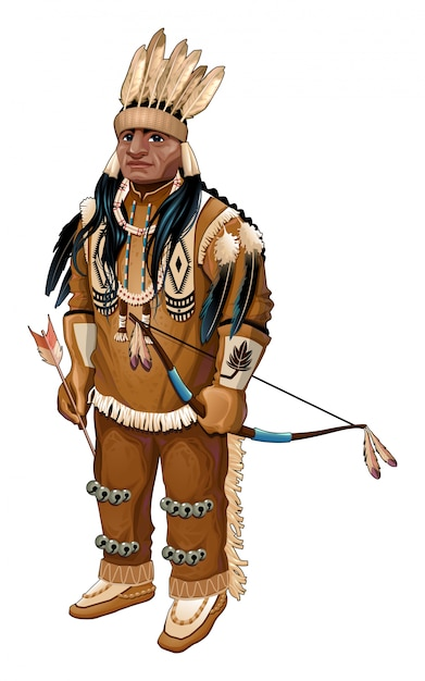 Native american with bow and arrow vector isolated
