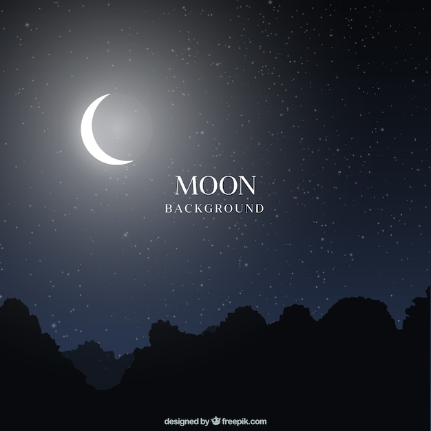 Night landscape background with moon Vector  Free Download