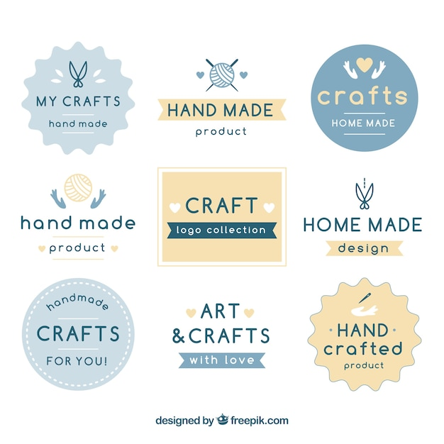 Free Vector Nine Logos For Crafts