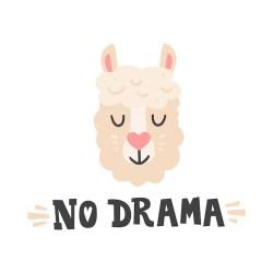 Premium Vector No drama lama head and hand drawn quote cute animal face character