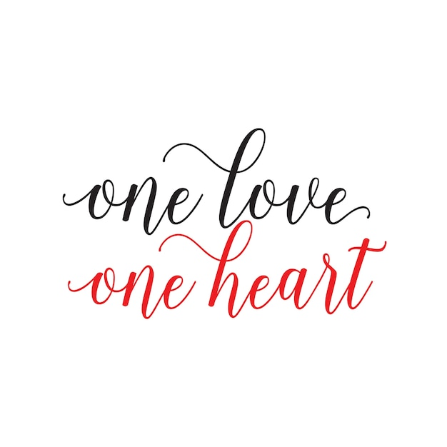 One love one heart lettering Vector Premium Download
