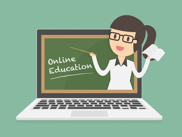Online Education On Laptop Vector