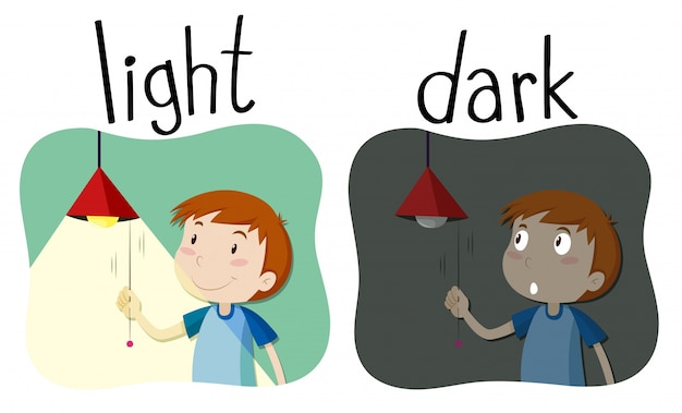 opposite adjectives light and