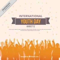 Orange people silhouettes background of youth day Vector ...