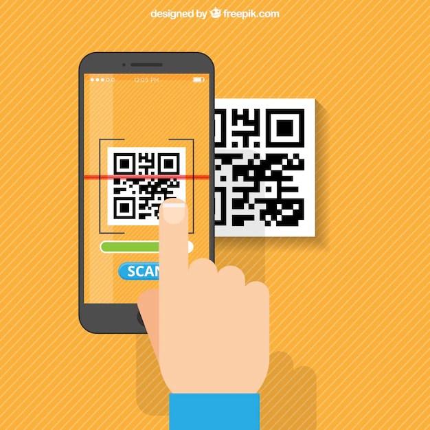 Orange Striped Background Of Mobile Scanning Qr Code