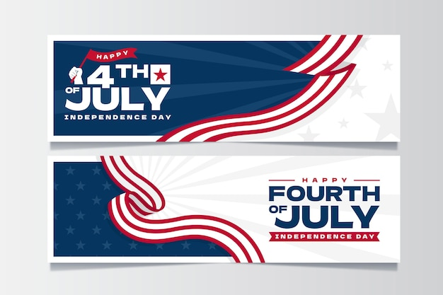 Organic flat 4th of july independence day banners set Free Vector