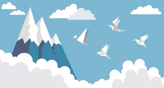 origami paper birds mountain