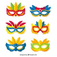 Pack of colorful carnival masks in flat design Vector ...