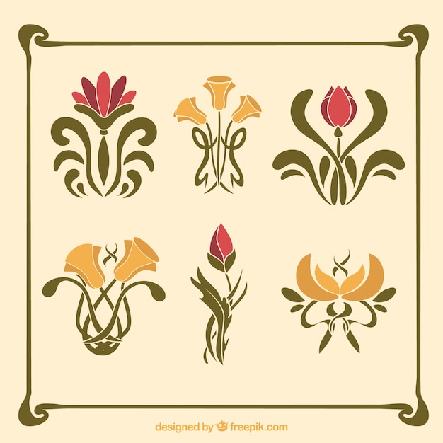 Pack Of Flowers In Art Nouveau Style Free Vector