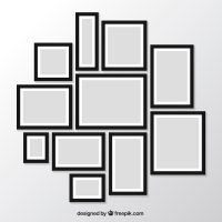 Pack of modern photo frames on the wall Vector