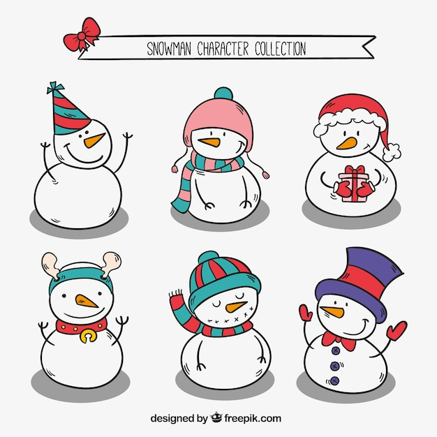 Pack Of Snowmen Sketches With Christmas Elements Vector