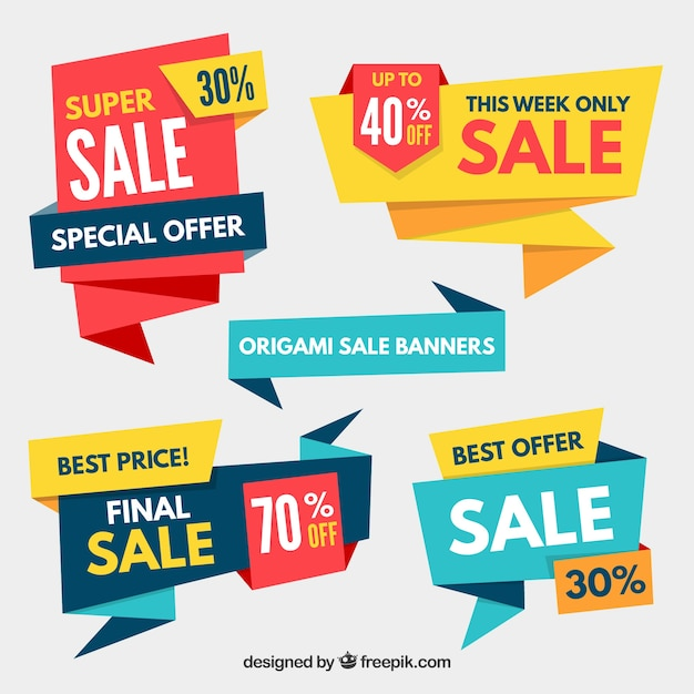 Pack Of Sale Origami Banners Vector Free Download