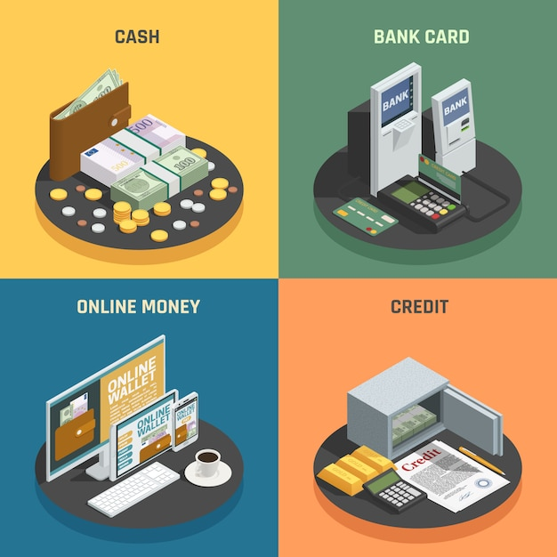Free Vector Payment Methods 4 Isometric Icons Square With Cash Credit Bank Cards And Online Transactions Isolated