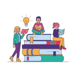 Free Vector People reading books for study vector illustration