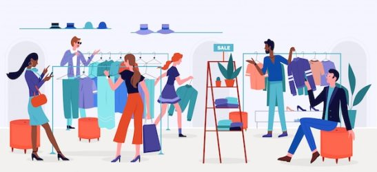 Premium Vector People shopping on sale illustration cartoon flat man and woman shopper characters buy clothes and accessories in retail store shop or boutique interior modern style fashion showroom background