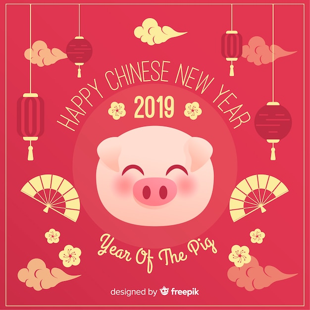 Pig Face Chinese New Year Background Vector Free Download