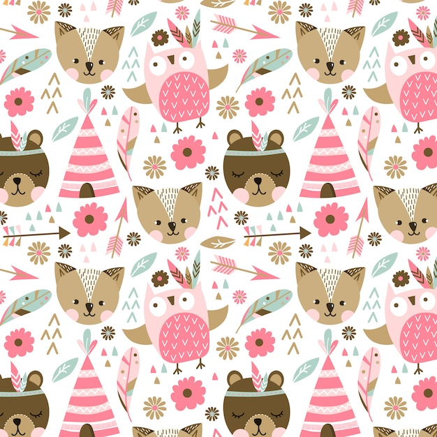 Pink animals pattern Vector