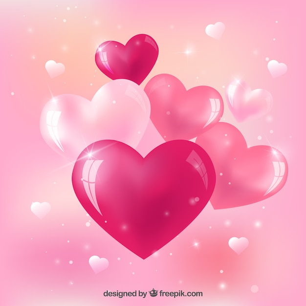 Download Pink glossy hearts Vector | Free Download